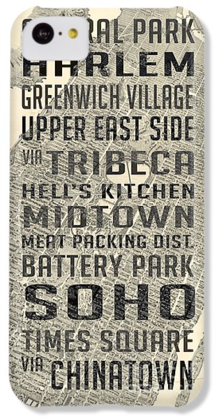Harlem iPhone 5c Case - New York City Subway Stops Vintage Map 5 by Edward Fielding