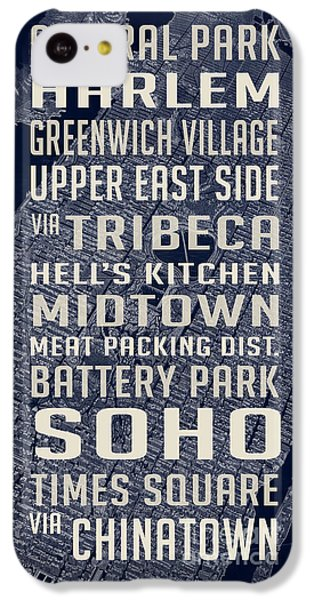 Harlem iPhone 5c Case - New York City Vintage Subway Stops With Map by Edward Fielding