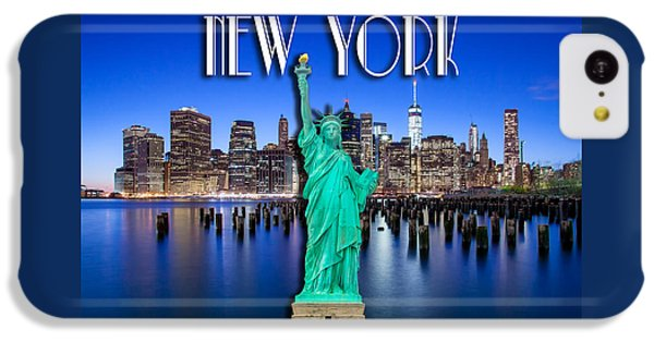 Statue Of Liberty iPhone 5c Case - New York Classic Skyline With Statue Of Liberty by Az Jackson
