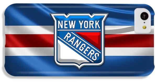 Sport iPhone 5c Case - New York Rangers - 3d Badge Over Flag by Serge Averbukh