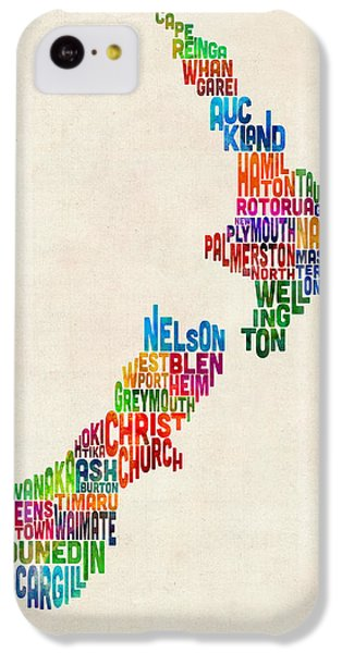 New Zealand Typography Text Map IPhone 5c Case by Michael Tompsett