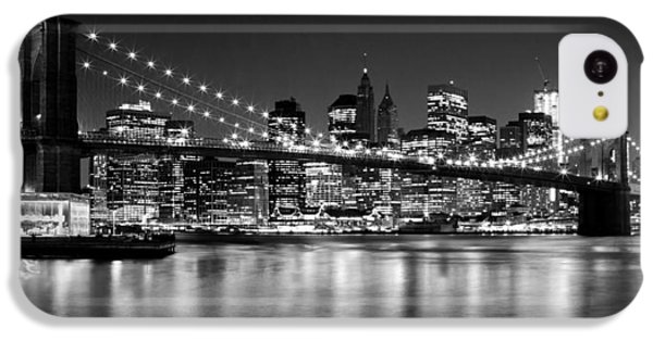Night Skyline Manhattan Brooklyn Bridge Bw IPhone 5c Case by Melanie Viola