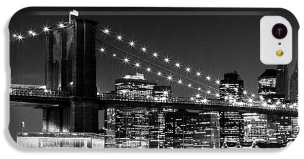 Night Skyline Manhattan Brooklyn Bridge Bw IPhone 5c Case