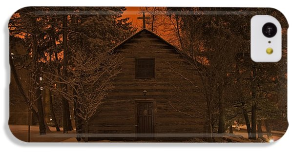 Notre Dame Log Chapel Winter Night IPhone 5c Case by John Stephens