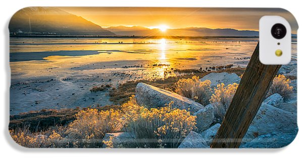 City Sunset iPhone 5c Case - Old Post At The Great Salt Lake by James Udall