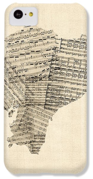 South America iPhone 5c Case - Old Sheet Music Map Of Ecuador Map by Michael Tompsett