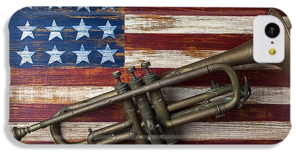 Old Trumpet On American Flag IPhone 5c Case