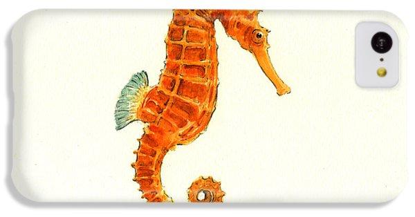 Seahorse iPhone 5c Case - Orange Seahorse by Juan Bosco