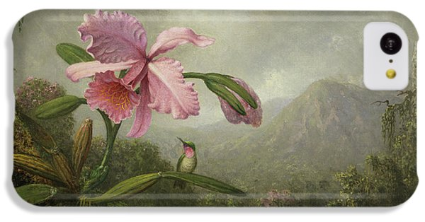 Humming Bird iPhone 5c Case - Orchid And Hummingbird Near A Waterfall by Martin Johnson Heade