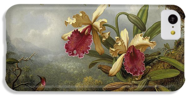 Humming Bird iPhone 5c Case - Orchids And Hummingbird by Martin Johnson Heade