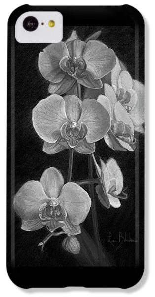 Orchid iPhone 5c Case - Orchids - Black And White by Lucie Bilodeau