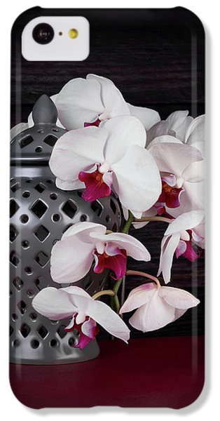 Orchid iPhone 5c Case - Orchids With Gray Ginger Jar by Tom Mc Nemar