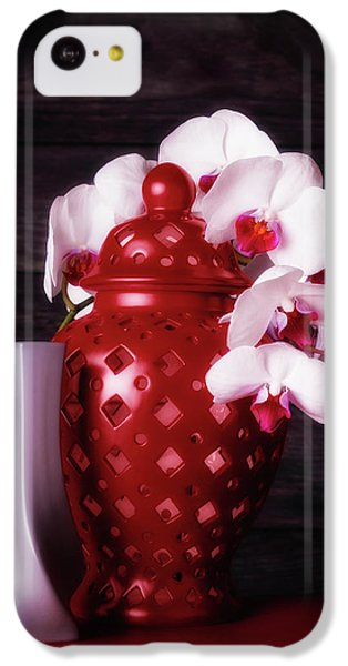 Orchid iPhone 5c Case - Orchids With Red And Gray by Tom Mc Nemar