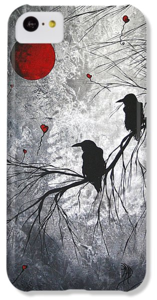 Raven iPhone 5c Case - Original Abstract Surreal Raven Red Blood Moon Painting The Overseers By Madart by Megan Duncanson