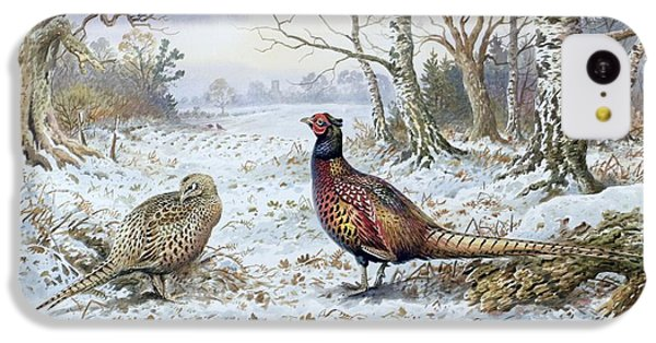 Pheasant iPhone 5c Case - Pair Of Pheasants With A Wren by Carl Donner