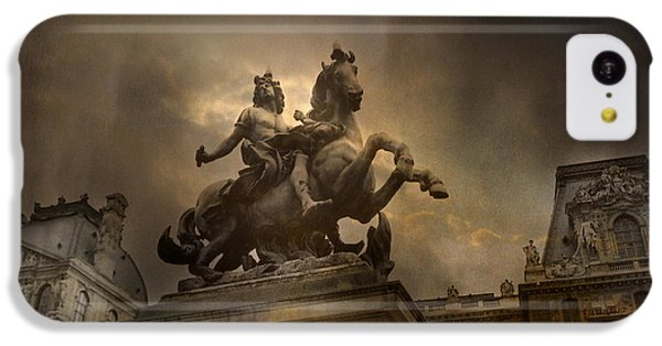 Paris - Louvre Palace - Kings Of Paris - King Louis Xiv Monument Sculpture Statue IPhone 5c Case by Kathy Fornal
