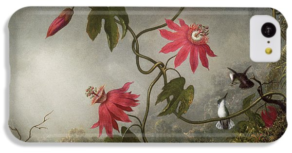 Humming Bird iPhone 5c Case - Passion Flowers And Hummingbird by Martin Johnson Heade