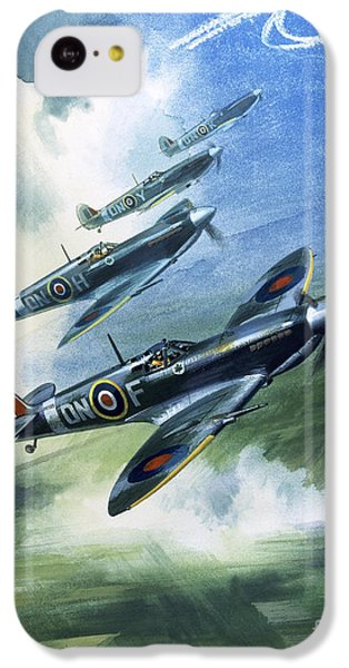 Patrolling Flight Of 416 Squadron, Royal Canadian Air Force, Spitfire Mark Nines IPhone 5c Case by Wilf Hardy