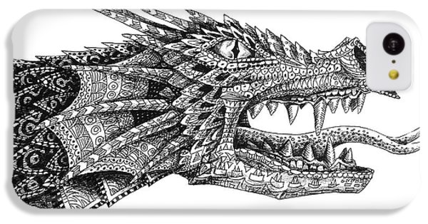 IPhone 5c Case featuring the drawing Pattern Design Dragon by Aaron Spong