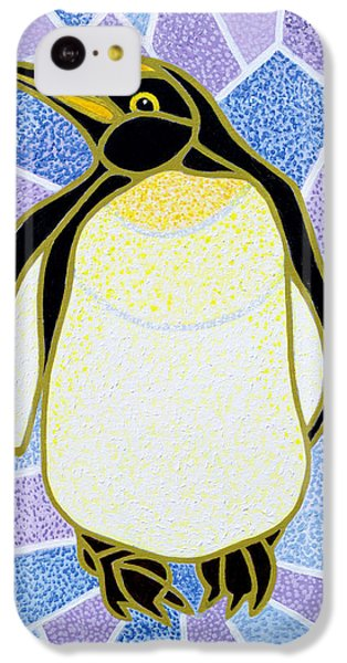 Penguin On Stained Glass IPhone 5c Case by Pat Scott
