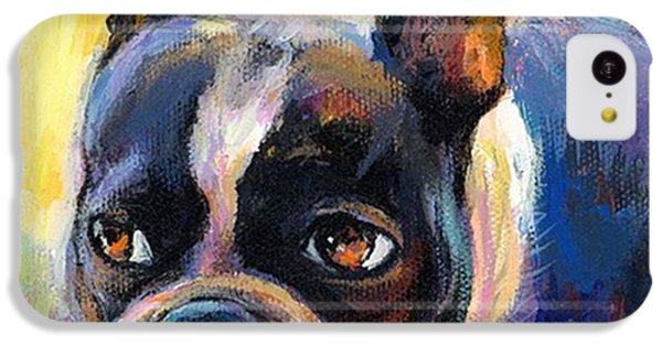 Pensive Boston Terrier Painting By IPhone 5c Case