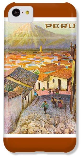 Llama iPhone 5c Case - Peru El Misti Volcano Vintage Travel Poster by Retro Graphics