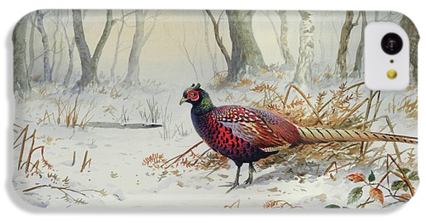 Pheasants In Snow IPhone 5c Case by Carl Donner
