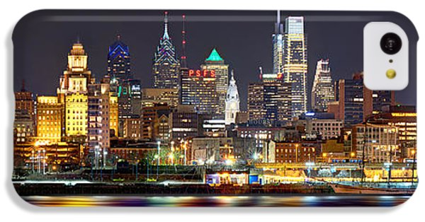 City Scenes iPhone 5c Case - Philadelphia Philly Skyline At Night From East Color by Jon Holiday