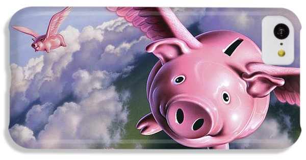 Pig iPhone 5c Case - Pigs Away by Jerry LoFaro