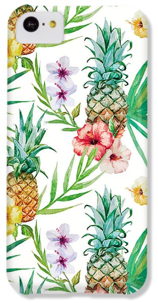Pineapple And Tropical Flowers IPhone 5c Case