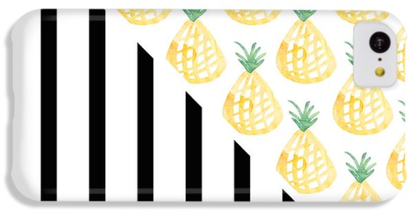 Pineapples And Stripes IPhone 5c Case by Linda Woods