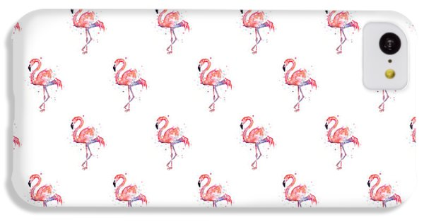 Pink Flamingo Watercolor Pattern IPhone 5c Case