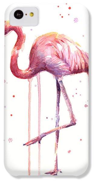Flamingo iPhone 5c Case - Pink Watercolor Flamingo by Olga Shvartsur