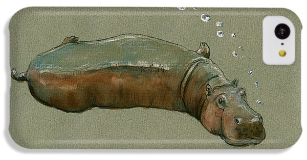 Hippopotamus iPhone 5c Case - Playing Hippo by Juan  Bosco