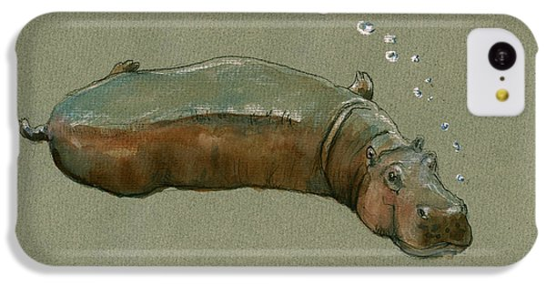 Playing Hippo IPhone 5c Case by Juan  Bosco