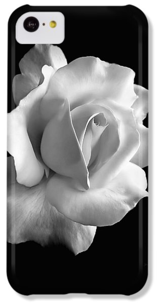 White iPhone 5c Case - Porcelain Rose Flower Black And White by Jennie Marie Schell