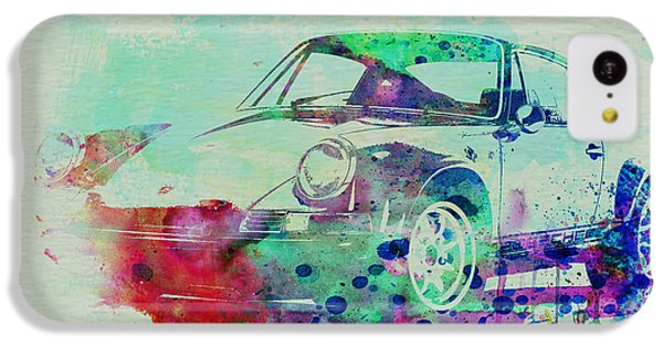 Car iPhone 5c Case - Porsche 911 Watercolor 2 by Naxart Studio