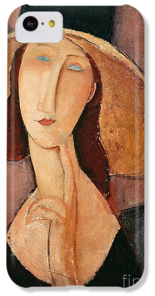 Portraits iPhone 5c Case - Portrait Of Jeanne Hebuterne In A Large Hat by Amedeo Modigliani