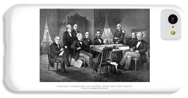 Salmon iPhone 5c Case - President Lincoln His Cabinet And General Scott by War Is Hell Store