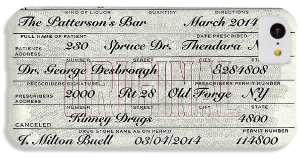 IPhone 5c Case featuring the photograph Prohibition Prescription Certificate Personalized by David Patterson