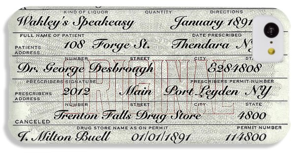 IPhone 5c Case featuring the photograph Prohibition Prescription Certificate Speakeasy by David Patterson