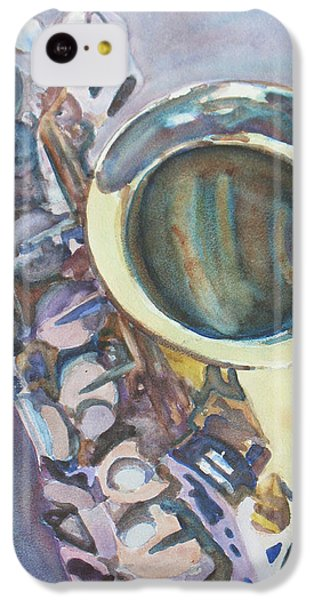 Saxophone iPhone 5c Case - Purple Sax by Jenny Armitage