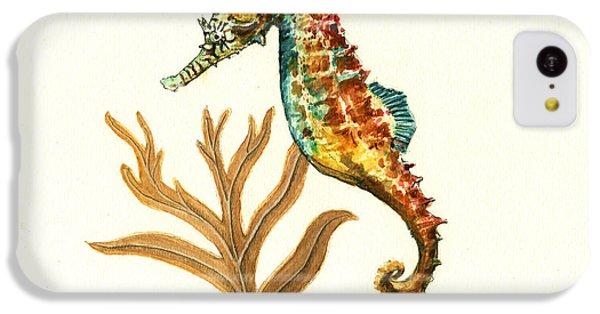 Seahorse iPhone 5c Case - Rainbow Seahorse by Juan Bosco