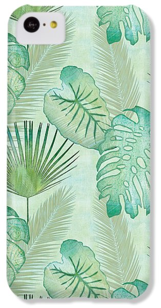 Rainforest Tropical - Elephant Ear And Fan Palm Leaves Repeat Pattern IPhone 5c Case by Audrey Jeanne Roberts