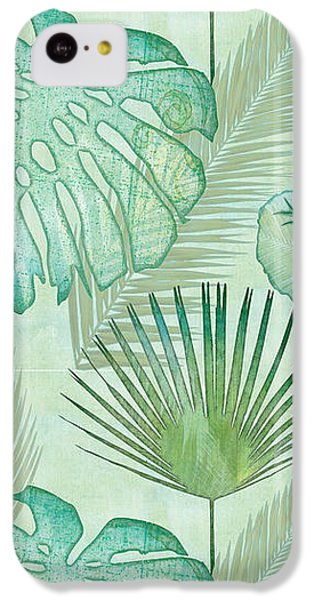 Animals iPhone 5c Case - Rainforest Tropical - Elephant Ear And Fan Palm Leaves Repeat Pattern by Audrey Jeanne Roberts