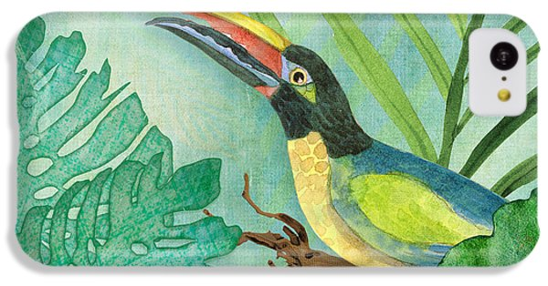 Toucan iPhone 5c Case - Rainforest Tropical - Jungle Toucan W Philodendron Elephant Ear And Palm Leaves 2 by Audrey Jeanne Roberts
