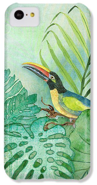 Rainforest Tropical - Tropical Toucan W Philodendron Elephant Ear And Palm Leaves IPhone 5c Case by Audrey Jeanne Roberts