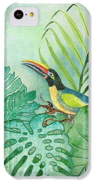 Toucan iPhone 5c Case - Rainforest Tropical - Tropical Toucan W Philodendron Elephant Ear And Palm Leaves by Audrey Jeanne Roberts