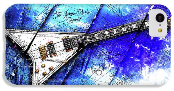 Randy's Guitar On Blue II IPhone 5c Case by Gary Bodnar