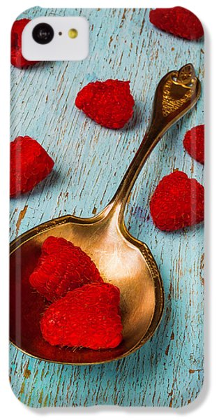 Raspberries With Antique Spoon IPhone 5c Case by Garry Gay